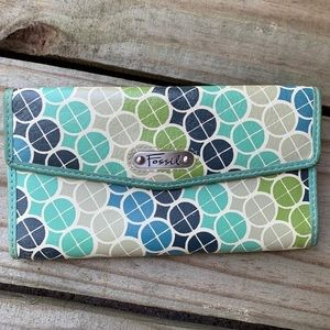 Turquoise Leather Fossil Wallet Like New